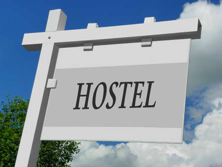 poster bed: Hostel Sign Stock Photo