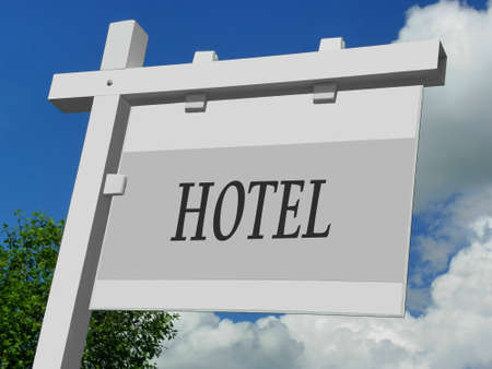 poster bed: Hotel Sign Stock Photo