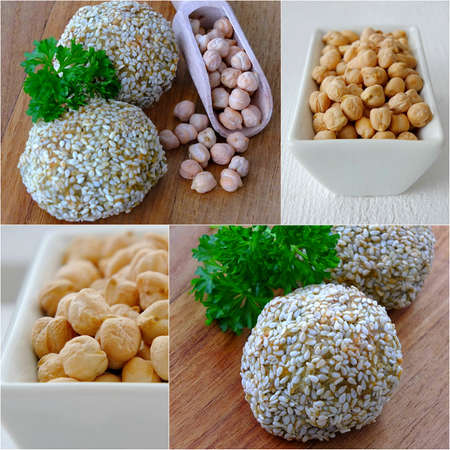 A collage of falafel balls