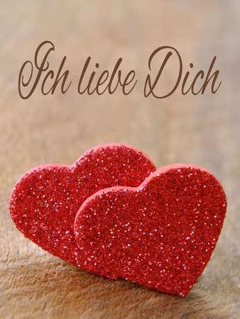 Zwei Herzen für Valentinstag mit Text Deutsch Lizenzfreie Bilder