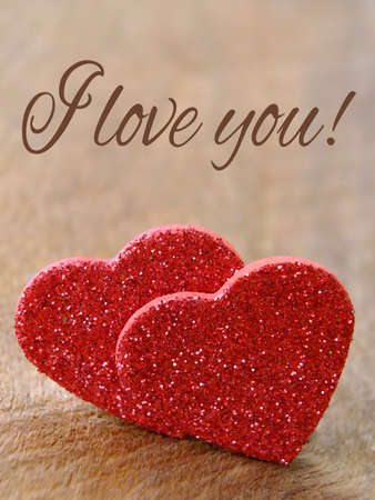 Two hearts for valentines day with message   Standard-Bild