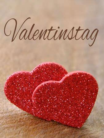Zwei Herzen für Valentinstag mit Deutsch Text