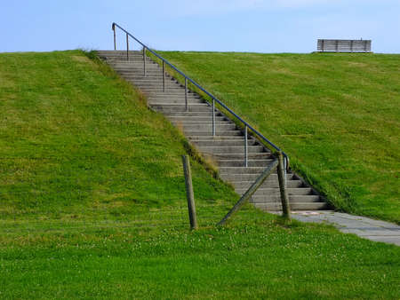 north sea: stairs on a dike along the North Sea Coast Stock Photo
