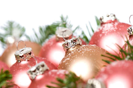 christmas baubles with tree branches and snow Stock Photo