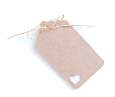 name day: a empty vintage gift tag on white background  Stock Photo