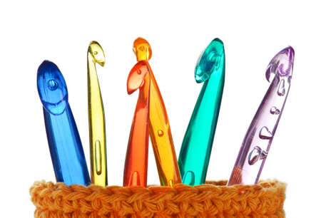different size an colour crochet hooks Stock Photo