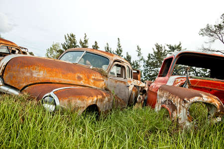 restauration: old cars at a scrapyard