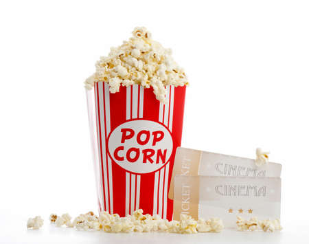 isolated bag of popcorn with cinema tickets Stock Photo