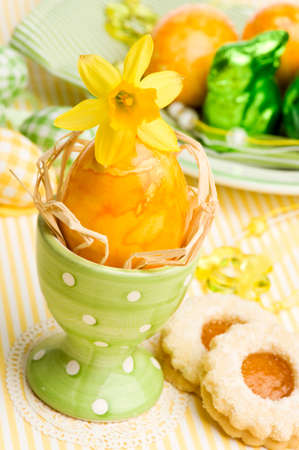 close-up of easter breakfast table decoration photo