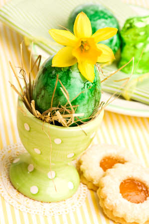customs and celebrations: close-up of easter breakfast table decoration Stock Photo