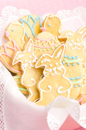 decorated easter cookies in studio photo