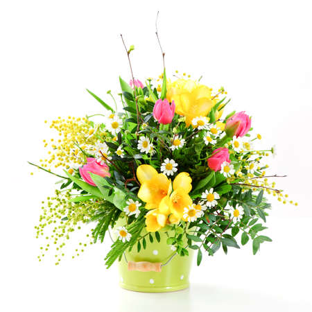 buch: a buch of spring flowers on white background