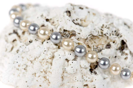 neckless: a neckless with perls on a shell Stock Photo