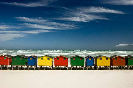 beach with colorful huts in Muizenberg, Cape Town, South Africa