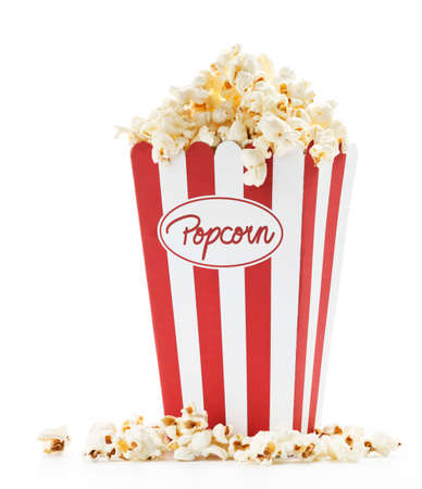 blockbuster: a bag full of popcorn with white background Stock Photo