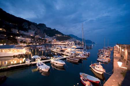 harbor in Amalfi at night, Italy