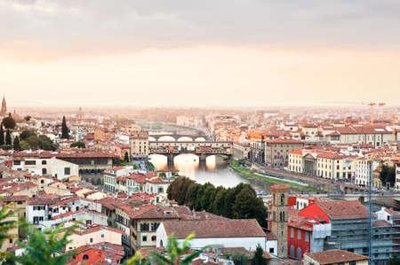 river Arno with Ponte Veccio bridge in Florence, Italy