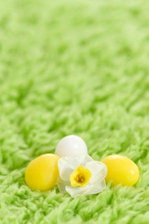 moulder: easter eggs with flowers on grass Stock Photo