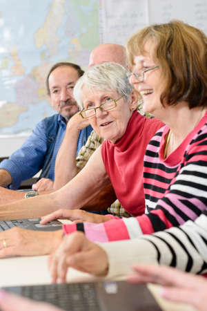 training workshop: seniors in a classroom, further education