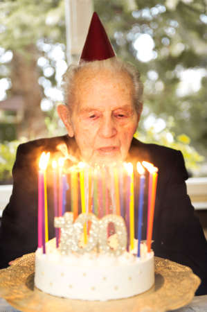 old man celebrating his 100th birthday Stock Photo