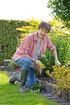 a woman working in the garden photo