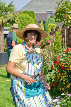 garten: a woman in the garten cutting plants Stock Photo