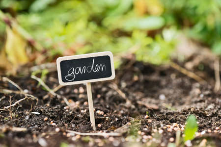 lable: garden soil with a lable saying garden