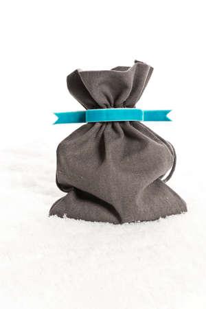blue velvet: Santa Claus bag with a blue velvet ribbon and artificial snow