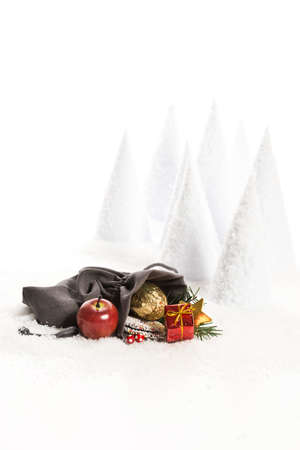 gift bags: Christmas bag with decoration an artificial snow landscape