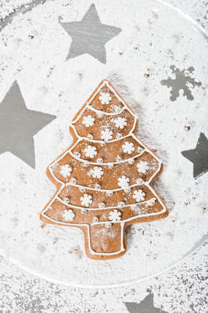 sugar: home made gingerbread christmas tree with decoration Stock Photo