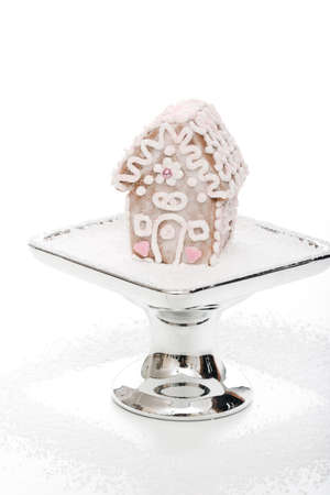 silver tray: little gingerbread house on a silver tray
