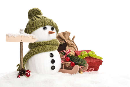 snow man: snow man with christmas decoration Stock Photo