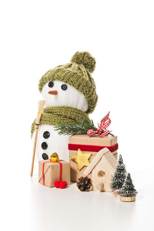 snow man with christmas decoration Stock Photo