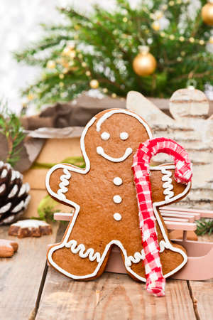gingerbread man: gingerbread man with cotton candy cane Stock Photo