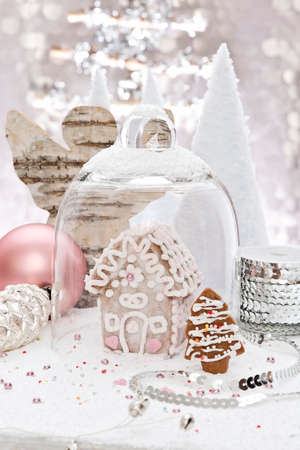 gingerbread house: a little gingerbread house with decoration Stock Photo