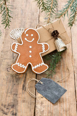 gingerbread man: gingerbread man with black tag Stock Photo