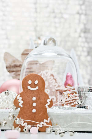 gingerbread man: a gingerbread man with decoration Stock Photo