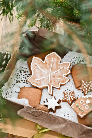 gingerbread cookies: gingerbread cookies with christmas decoration