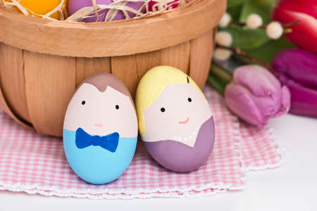 mr and mrs: Mr. and Mrs. easter egg with decoration