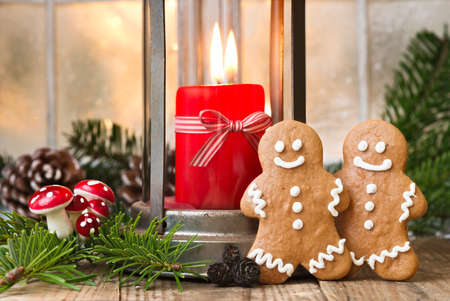 ginger bread man: two ginger bread man with christmas decoration