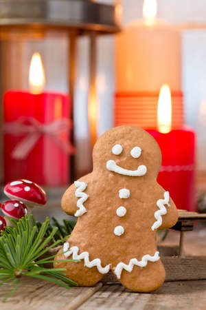 ginger bread man: ginger bread man with christmas decoration Stock Photo