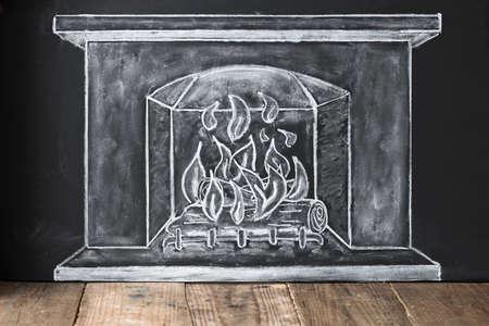 fireside: with chalk illustrated fireplace on blackboard