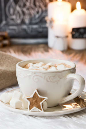 chocolate cookie: hot chocolate with christmas decoration