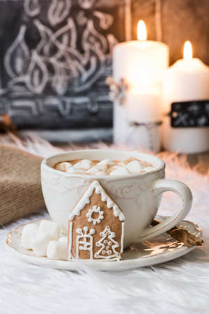 fireside: hot chocolate with christmas decoration
