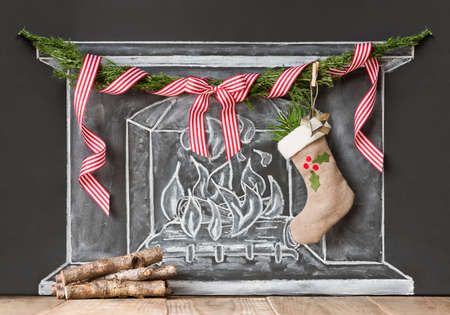 Fireplace illustration with christmas decoration Stock Photo