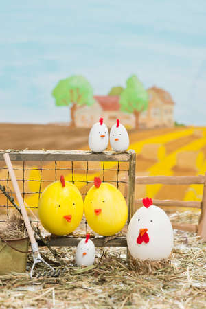 painted easter eggs on a chicken farm