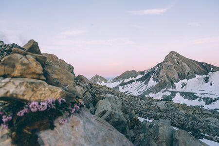 Alpine panoramic view of snow capped Schesaplana peak in Austria