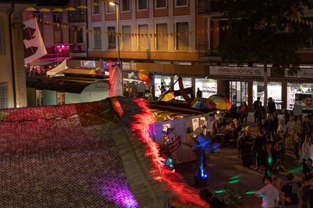City Festival Brugg 24th of august 2019. street photography. Decorated street festival at Playa De Brugg by night.