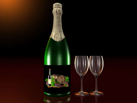 Bottle of sparkling wine with glasses Stock Photo - 10572778