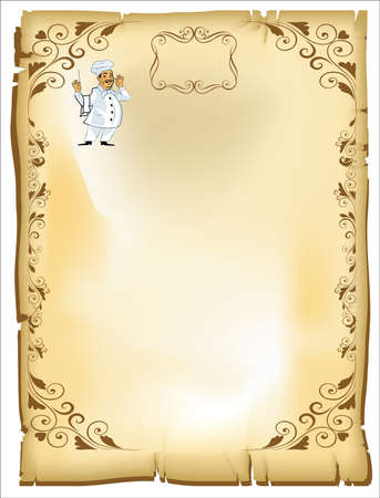 Page menu with chef in vector drawn on parchment and exported jpg